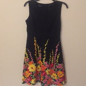 Spense Black Dress with Flowers Border - Size 4P